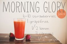 Morning Glory Juice with Grapefruit, Carrot, Lemon, Ginger, Strawberries.  Yum! http://www.draxe.com  #breakfast #juicerecipe #vegetablejuice