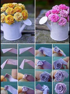 rosas com tira de papel