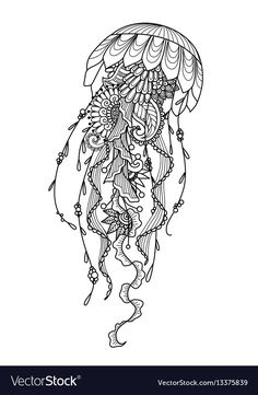 "Jelly Fish Coloring Page Awesome ""and Drawn Jellyfish Zentangle Style for Coloring Book Jellyfish Tattoo, Jellyfish Art, Jellyfish Drawing, Badass Tattoos, Body Art Tattoos, Sleeve Tattoos, Fish Coloring Page, Coloring Pages, Natur Tattoos"