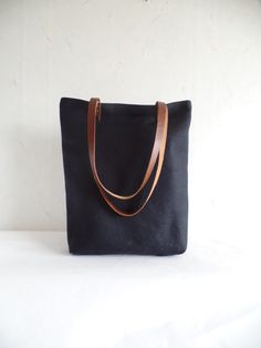 Natural linen tote bag Black natural linen large tote by allbyFEDI