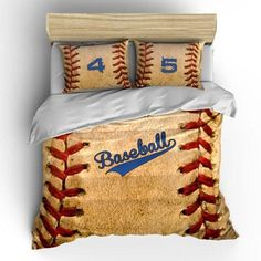 Decor Vintage Baseball Theme Bedding Set, Duvet or Comforter - Vintage Baseball Themed bedding Set - can be personalized with Name Mens Bedding Sets, Duvet Bedding Sets, Comforters, Girl Bedding, Bedspreads, Baseball Dugout, Baseball Crafts, Baseball Jewelry, Baseball Stuff