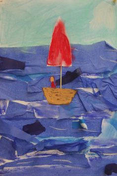 Sailboat in the rough sea- easy art project for kids