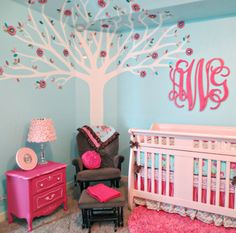 Pink and Aqua Nursery featuring a gorgeous monogram! #nursery
