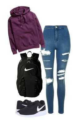 """outfits for school"" by christine725 on Polyvore featuring Topshop, H&M and NIKE"