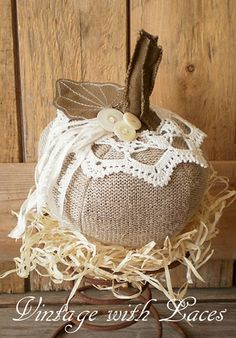 Love the details, like the lace and little white buttons and the pretty leaves that Julia embellished her lovely fabric pumpkin creation with!