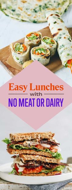 19 Easy Lunches With No Meat Or Dairy Whether you& vegan, vegetarian or just want to save money, these are made for you. The post 19 Easy Lunches With No Meat Or Dairy & Have to try that one appeared first on Vegetarian recipes . Vegan Lunches, Vegan Foods, Vegan Dishes, Vegan Vegetarian, Healthy Snacks, Easy Vegan Lunch, Vegan Keto, Eating Vegan, Easy Vegetarian Meals