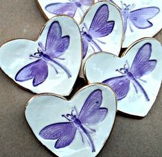 FOUR Dragonfly Itty Bitty Ceramic Heart Ring Dishes by dgordon
