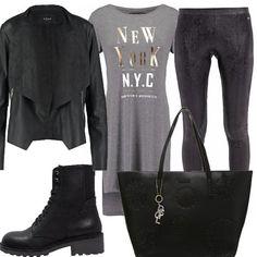 Per una donna libera, alla moda, un outfit dai toni del grigio chiaro, al nero, che è sempre adatto in ogni occasione, per un uscita con le amiche, o in disco!