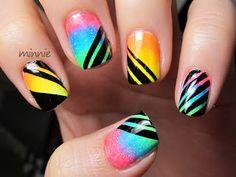 Polish or Perish: EDC Nails! Neon gradient with randon black stripes :)