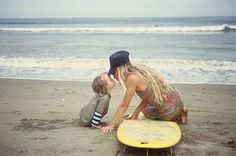 Mom and Kid Surfer