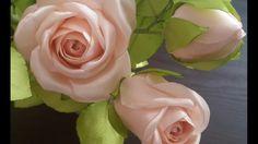 Flor Rosa de satin VIDEO curiosidades Angela peralta / Rose of Satin / ローズSatine Easy Fabric Flowers, Large Paper Flowers, Satin Flowers, Felt Flowers, Diy Flowers, Pretty Flowers, Ribbon Flower Tutorial, Diy Ribbon, Ribbon Rose