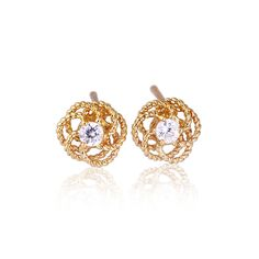9x9mm Fashion Rose Flower Shaped Stud Earring 18K Gold Plated Copper Earring Inlaid White Zircon