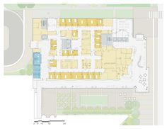 Floor plan of beautifully designed hospital with large reception and waiting area (Randall Children´s Hospital)