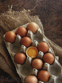 brown eggs... Nothing is more yellow then farm fresh egg yolks!