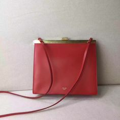 40ca6fa856 Celine 2017 Mini Clasp Shoulder Bag in Scarlet Natural Calfskin red  Discount Designer Handbags