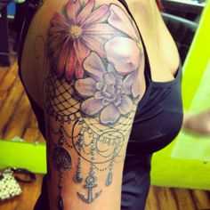 Dream catcher flower lace tattoo half sleeve quartersleeve