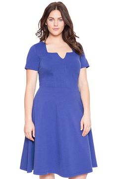 ELOQUII Notch Neckline Scuba Knit Fit & Flare Dress (Plus Size) available at #Nordstrom