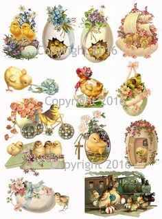 "Vintage Easter Scrap Images Chicks and Eggs Printed Collage Sheet 8.5 x 11"" For Decoupage, Altered Art, Scrapbooking etc. Ready to use for any project, scrapbooking, crafts, jewelry etc. Professionall"