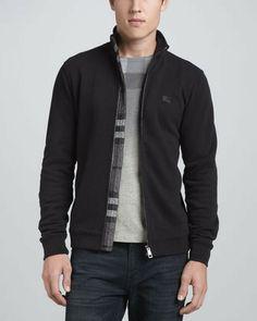 Burberry Cotton Zip Jacket, Black on shopstyle.com