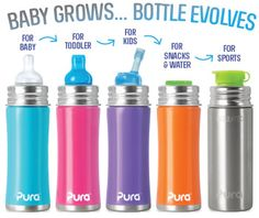 11oz Kiki Sippy Stainless Steel Water Bottle for Toddlers - Pura Stainless Steel Water Bottles