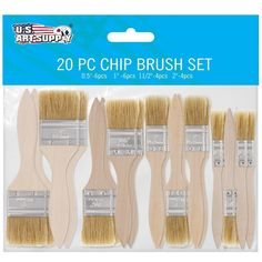 20 Pack By US Art Supply Assorted Size Paint and Chip Paint Brushes for Paint #USArtSupply