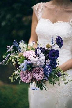 "{Gorgeous Bouquet Comprised Of Purple Lisianthus, Lavender ""Vintage"" Roses, Blue Nigella, White Nigella, Lavender, Scabiosa Pods, Seeded Eucalyptus & Other Mixed Florals & Greenery/Foliage}"