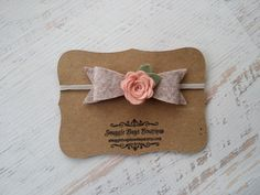 Large Wool Felt Bow and Rose Headband in by SnuggleBugsBowtique