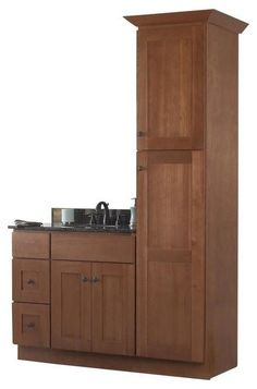 "JSI Cabinetry Sturbridge 36"" Bathroom Vanity Base and 18"" w/ Linen Closet, Right contemporary-bathroom-vanities-and-sink-consoles"