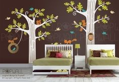 choose colors! Children Wall decal wall sticker -Animal Friends in Woodland (Huge) - FREE 5 more Birds - 081. $180.00, via Etsy.