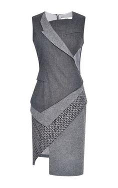 Wool Flannel Stretch Asymmetric Tuxedo Dress by Prabal Gurung for Preorder on Moda Operandi