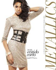 #Tendencias #vestido #AdolfoDominguez #metálicos #dress #correa #BCBG #metallics #gold #bright #party