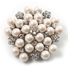 Snow White Glass Pearl Corsage Brooch $26.55