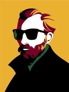 Van Gogh illustration of the fabulous Vincent by Malika Favre Portraits Illustrés, Van Gogh Portraits, Portrait Illustration, Graphic Illustration, Graphic Art, Fantasy Illustration, Illustration Simple, Blond Amsterdam, Vector Portrait