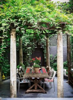 "The wisteria-covered pergola is an idyllic spot for alfresco dining. ""This house speaks to my hosting heart,"" says Camilla. ""I love cooking up a feast in the kitchen and entertaining friends in the garden."" The table is antique. Backyard Canopy, Garden Canopy, Diy Canopy, Canopy Outdoor, Outdoor Rooms, Outdoor Dining, Outdoor Gardens, Outdoor Decor, Patio Ideas"