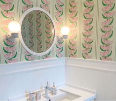 Giant watermelon slices are used to create the effect of a broad stripe in this funky wallpaper from Barneby Gates