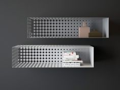 "Ukrainian designer Dmitry Kozinenko has created a collection of metal shelves titled ""In The Fog"" that set against an uniform background give the illusion of slowly blending into it. Bookcase Shelves, Metal Shelves, Wall Shelves, Shelving, Shelf, Steel Furniture, Cool Furniture, Furniture Design, Metallic Furniture"