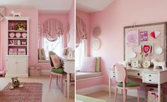 Girl's room a pink oasis. the pink and green colour scheme works well #kids #Homedecor