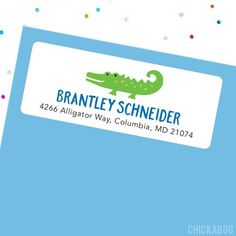 Make a great first impression with fun, personalized address labels. Our glossy labels are the... Personalized Address Labels, Return Address Labels, Alligator Party, Official Letter, Mailing Labels, Preschool Class, Red Envelope, Santa Letter, Cute Stickers