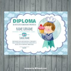 Watercolor graduation certificate template Free Vector Graduation Certificate Template, Certificate Templates, Cute Pins, Presents, Vector Freepik, Watercolor, School, Awards, Primary School
