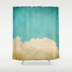 Shower Curtain Bathroom home decor, Clouds In The Sky, cream yellow blue turquoise mint egg shell