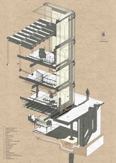 axon perspective, love the sepia low rez graphics explaining high tech building systems...