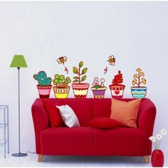 Flowerpot and cactus wall decal J-DM570085 : Adesivi da muro e decorazioni stickers per pareti | Ambiance-live.com
