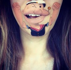 Do you need creative lip art style? I think you should take inspiriation from Disney character lip art ideas. Make mickey mouse, pluto, genie, mario on lips Mouth Painting, Body Painting, Painting Art, Lip Art, Lilo Und Stitch, Tattoo Designs, Art Designs, Art Visage, Cute Cartoon Characters