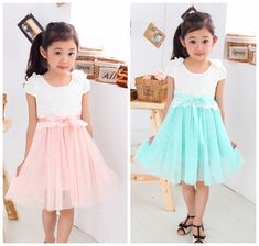 New arrival 2013 Summer girls shot sleeves patchwork dresses lace  grenadine girls dresses $15.90