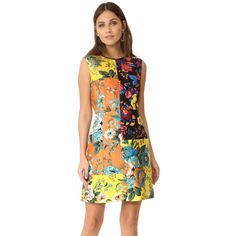 Diane Von Furstenberg Sleeveless Tailored Dress (32,060 INR) ❤ liked on Polyvore featuring dresses, crew neck dress, floral day dress, flower printed dress, floral dresses and patchwork dress