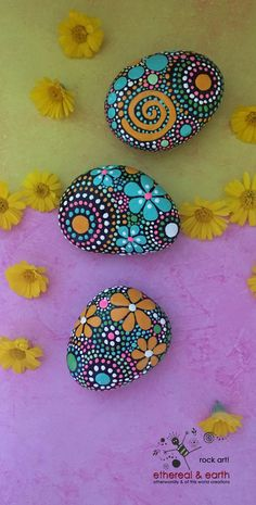 Hand Painted River Rock Mandala Inspired Design - Rock Art - Natural Home Decor - fields of color collection Trio #49 - $28.00 - FREE SHIPPING - ethereal & earth - otherworldly & of this world creations.