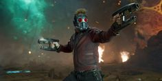 Star-Lord/Peter Quill (Chris Pratt) is ready to fire Star Lord, Mixtape, Michael Rooker, Films Marvel, Marvel Characters, Univers Marvel, Baby Groot, Jean Dujardin, Mtv