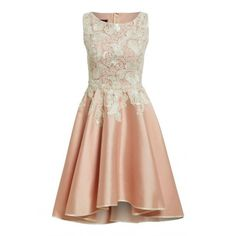 Nataliya Couture Chloe Dress in Blush and Cream (€460) ❤ liked on Polyvore featuring dresses, prom dresses, lace skater skirt, cream lace dress, floral dress and floral circle skirt