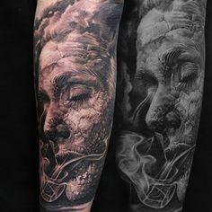 (Sleeve in progress)  By Artist: @q_tattoos.  #dongkyulee #blackandgreytattoo #blackandgrey #bnginksociety #blackandgraytattoo #blackandgray #bngtattoo #bngink #bng #bgis #blkngray #blkngrey #greywash