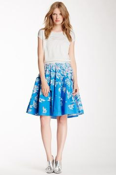 Printed Cutout Flare Skirt by Cacharel on @HauteLook